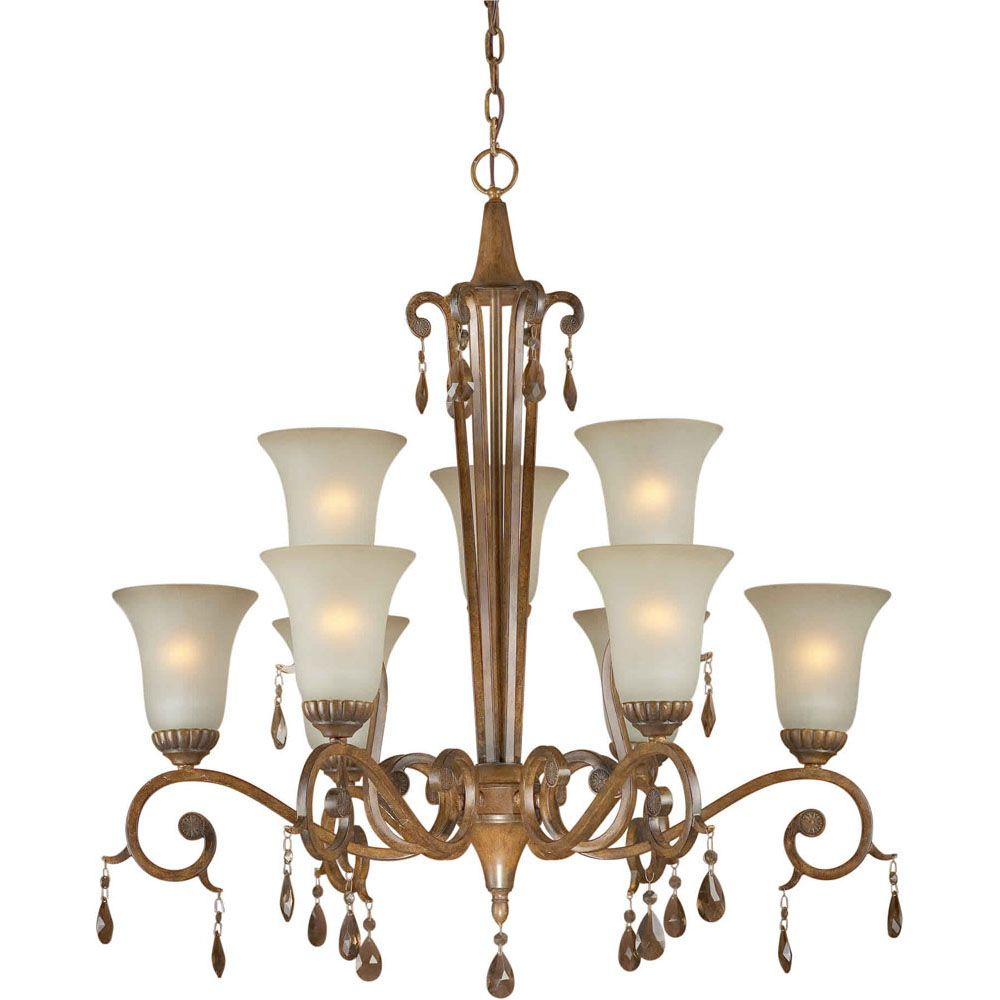 Burton 9-Light Ceiling Rustic Sienna Chandelier